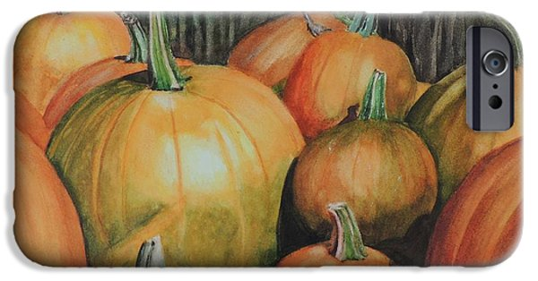 Farm Stand iPhone Cases - Pumpkin Wagon at the Farm Stand iPhone Case by Patty Kay Hall