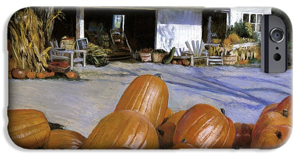 Autumn Scenes Pastels iPhone Cases - Pumpkins  iPhone Case by Susan Kuznitsky