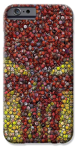 Bottlecaps iPhone Cases - Punisher Bottle Cap Mosaic iPhone Case by Paul Van Scott