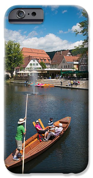 Punting iPhone Cases - Punt on the river in lovely Nagold Germany iPhone Case by Matthias Hauser