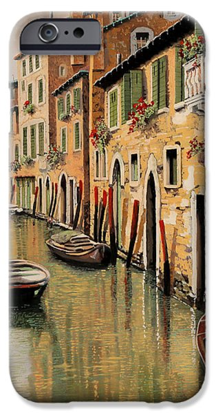Docked Boat iPhone Cases - Punte Rosse A Venezia iPhone Case by Guido Borelli