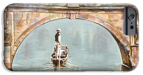 Cambridge Paintings iPhone Cases - Punting on River Cam under Clare Bridge iPhone Case by Leigh Banks