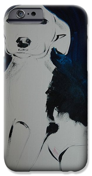 Puppies iPhone Cases - Puppy, 2011 Oil On Board iPhone Case by Sally Muir