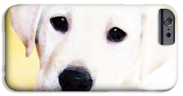 Lab Print iPhone Cases - Puppy Art - Lil Yellow iPhone Case by Sharon Cummings