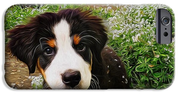 Dog Walking Digital iPhone Cases - Puppy Art - Little Lily iPhone Case by Jordan Blackstone