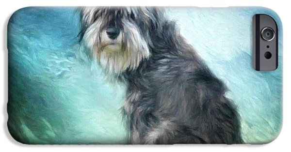 Puppy Digital Art iPhone Cases - Puppy explores the world iPhone Case by Gun Legler