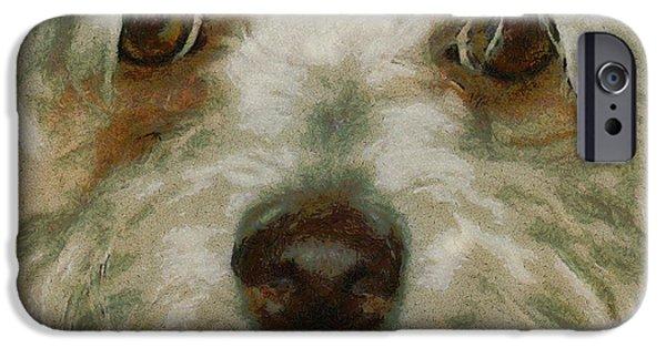 Puppy Digital Art iPhone Cases - Puppy Eyes iPhone Case by Ernie Echols
