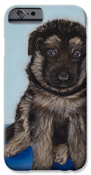 Small Pastels iPhone Cases - Puppy - German Shepherd iPhone Case by Anastasiya Malakhova