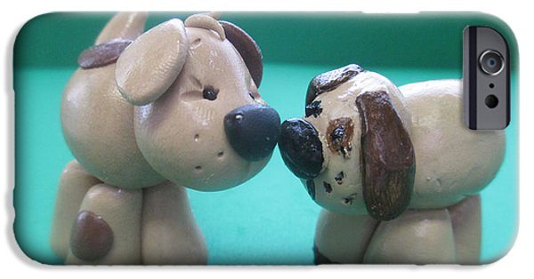 Puppy Digital iPhone Cases - Puppy Love iPhone Case by Barbara Snyder