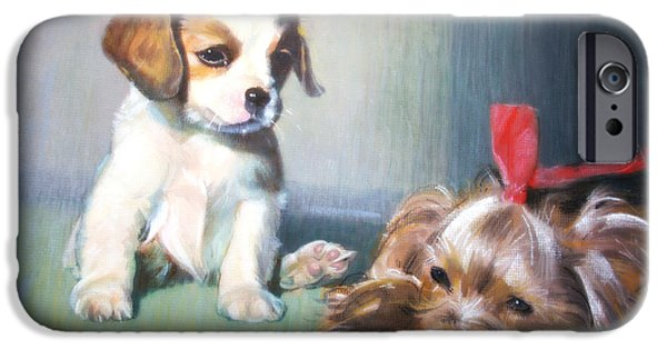 Puppies Pastels iPhone Cases - Puppy Love iPhone Case by Derek Williams RBSA FRSA