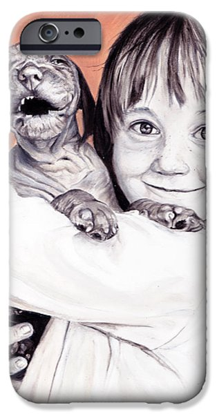 Pet Care iPhone Cases - Puppy Love iPhone Case by Enzie Shahmiri