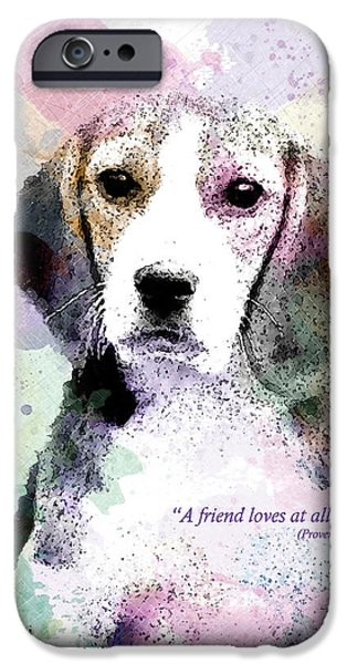 Puppy Digital Art iPhone Cases - Puppy Love iPhone Case by Gary Bodnar