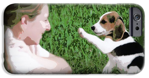 Canine Greeting Cards Digital Art iPhone Cases - Puppy Love iPhone Case by Lynn Griffin