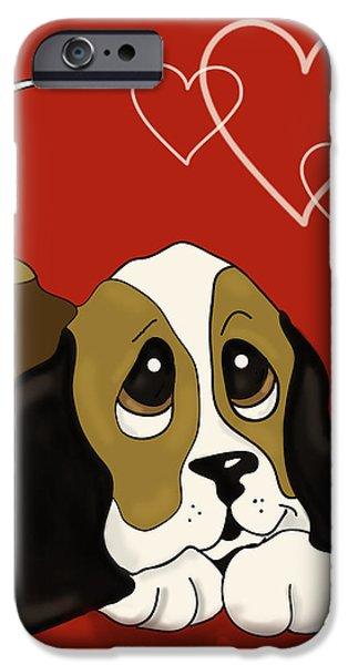 Puppy Love Greeting Cards iPhone Cases - Puppy Love valentine iPhone Case by Irma Mason
