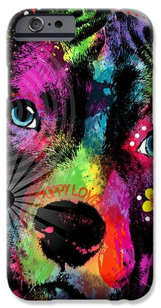 Bulls Mixed Media iPhone Cases - Puppy  iPhone Case by Mark Ashkenazi
