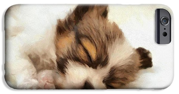 Puppy Digital Art iPhone Cases - Puppy nap iPhone Case by Gun Legler