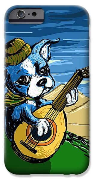 Puppy Digital Art iPhone Cases - Puppy Serenade iPhone Case by Devin Hermanson