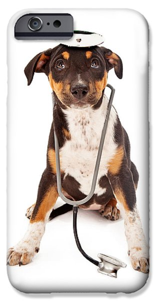 Cute Puppy iPhone Cases - Puppy Veterinarian iPhone Case by Susan  Schmitz