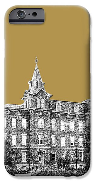 Pen And Ink iPhone Cases - Purdue University - University Hall - Brass iPhone Case by DB Artist