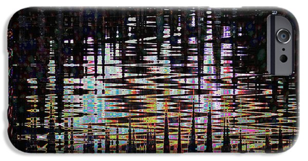Multimedia iPhone Cases - Pure Abstract waves sparkle in the pond at mid night    signature art from NavinJoshi              iPhone Case by Navin Joshi