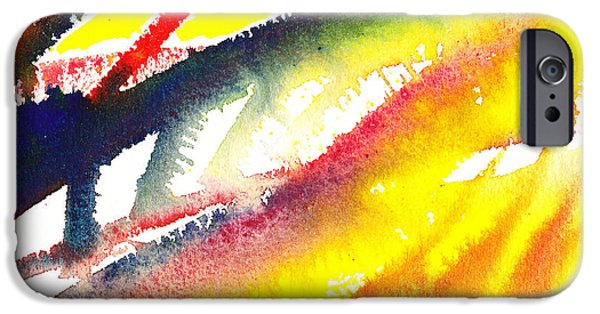 Flames Paintings iPhone Cases - Pure Color Inspiration Abstract Painting Conquering Flames iPhone Case by Irina Sztukowski