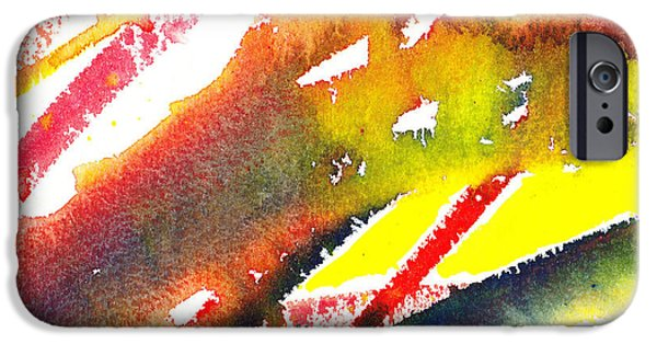 Abstractions iPhone Cases - Pure Color Inspiration Abstract Painting Linea Forces iPhone Case by Irina Sztukowski