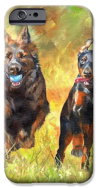 Alsatian iPhone Cases - Pure Joy iPhone Case by David Stribbling