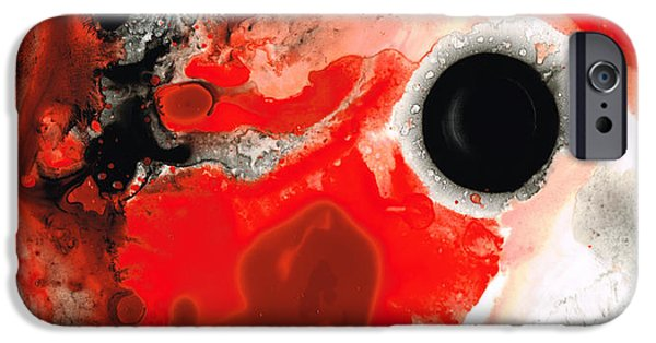 Geometrical iPhone Cases - Pure Passion - Red And Black Art Painting iPhone Case by Sharon Cummings