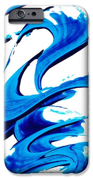 Minimalism Abstract iPhone Cases - Pure Water 314 - Blue Abstract Art by Sharon Cummings iPhone Case by Sharon Cummings