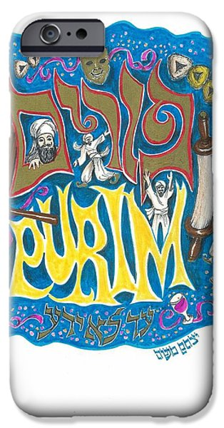 Purim iPhone Cases - Purim Holiday Poster Panel iPhone Case by Marty Fuller - Yitzchak Moshe