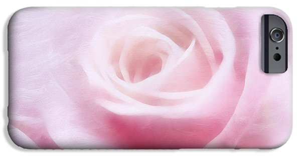 Macro Mixed Media iPhone Cases - Purity And The Pink Rose iPhone Case by Georgiana Romanovna