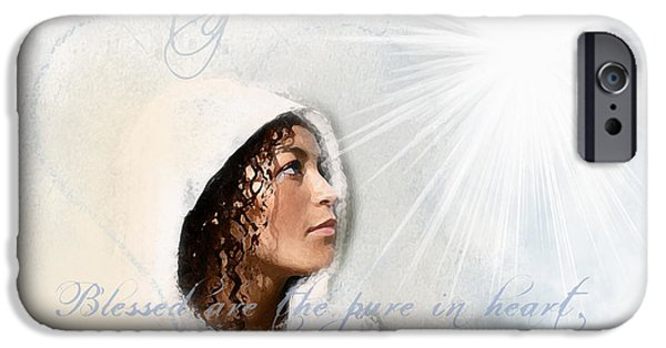 Spiritual Portrait Of Woman iPhone Cases - Purity iPhone Case by Jennifer Page