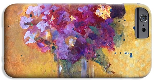 Business Paintings iPhone Cases - Purple Abstract iPhone Case by Nancy Merkle