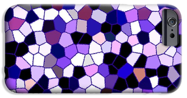 Asymmetrical iPhone Cases - Purple Abstract Stained Glass Mosaic iPhone Case by Tigerlynx Art