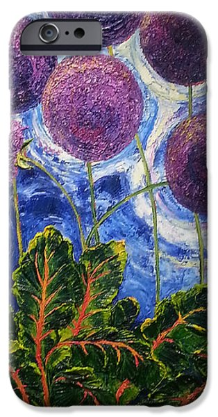 Swiss Chard iPhone Cases - Purple Alliums and Swiss Chard iPhone Case by Paris Wyatt Llanso