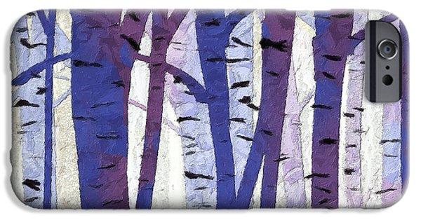 Plum iPhone Cases - Plum and Blue Birch Trees - Plum and Blue Art iPhone Case by Lourry Legarde