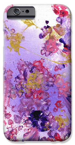 Paws iPhone Cases - Purple and Gold Paws iPhone Case by Antony Galbraith