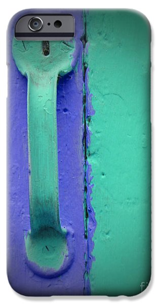 Becky Digital Art iPhone Cases - Purple and Green Doorknob iPhone Case by Becky Hayes