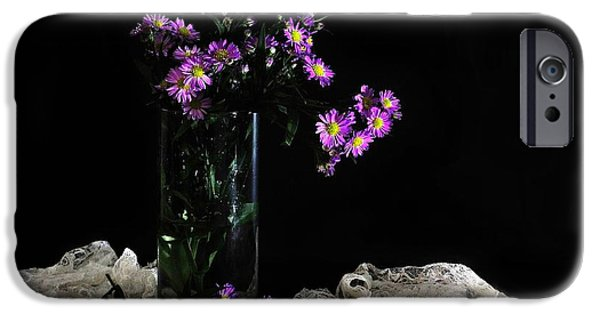 Flower Of Life Digital Art iPhone Cases - Purple and Lace iPhone Case by Diana Angstadt