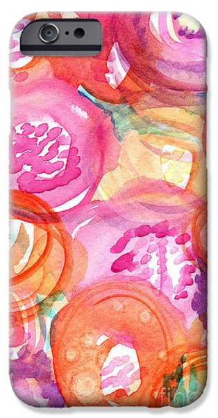 Abstract Flowers iPhone Cases - Purple and Orange Flowers iPhone Case by Linda Woods