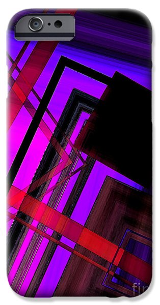 Transparency Geometric iPhone Cases - Purple and Red Art iPhone Case by Mario  Perez