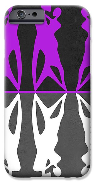 Love Making Paintings iPhone Cases - Purple and White Dance iPhone Case by Naxart Studio