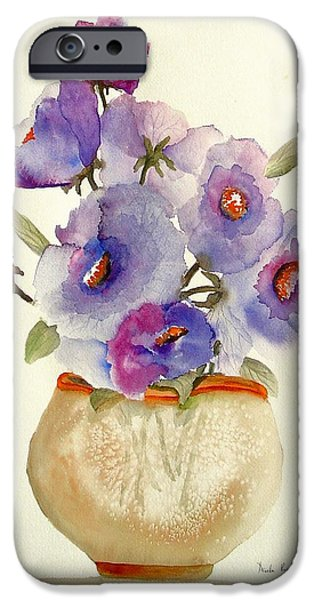 Tasteful Art iPhone Cases - Purple Anemones in a Vase iPhone Case by Neela Pushparaj