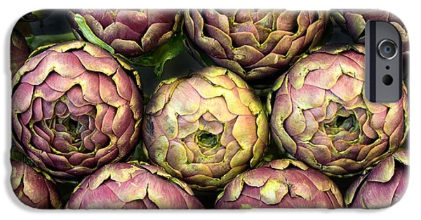 Local Food iPhone Cases - Purple Artichokes Closeup iPhone Case by Frank Bach