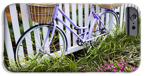 Interface iPhone Cases - Purple Bicycle and Flowers iPhone Case by David Smith