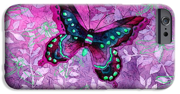 Digital Watercolor Paintings iPhone Cases - Purple Butterfly iPhone Case by Hailey E Herrera