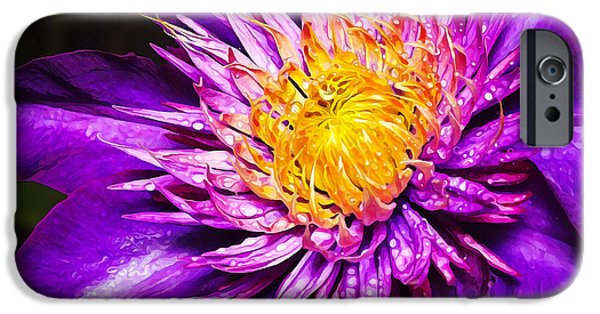 Floral Digital Art Digital Art iPhone Cases - Purple Clematis Flower iPhone Case by Bill Caldwell -        ABeautifulSky Photography