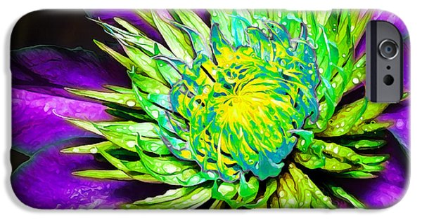 Floral Digital Art Digital Art iPhone Cases - Purple Clematis Flower with Chartreuse iPhone Case by Bill Caldwell -        ABeautifulSky Photography