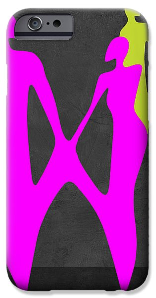 Love Making Paintings iPhone Cases - Purple Couple iPhone Case by Naxart Studio