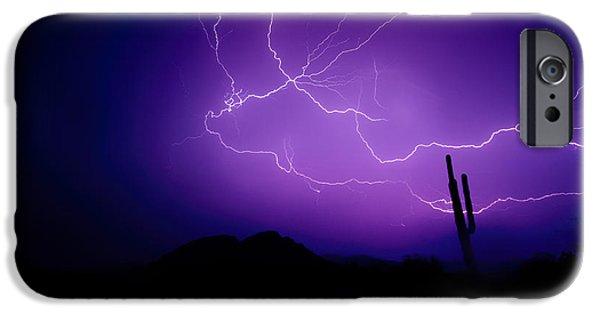 Natural Forces iPhone Cases - Purple Desert Skies  iPhone Case by Saija  Lehtonen
